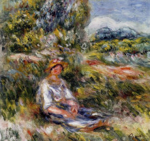 "Репродукция картины ""Young Girl Seated in a Meadow"" художника ""Ренуар Пьер Огюст"""