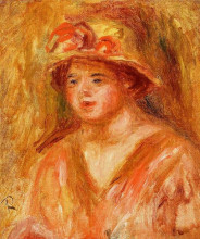 """Репродукция картины """"bust of a young girl in a straw hat"""" художника """"ренуар пьер огюст"""""""
