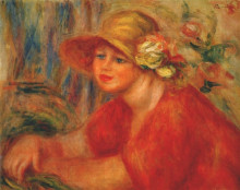 """Копия картины """"woman in a hat with flowers"""" художника """"ренуар пьер огюст"""""""