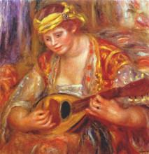 """Репродукция картины """"Woman with a mandolin"""" художника """"Ренуар Пьер Огюст"""""""