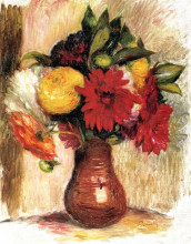 """Картина """"bouquet of flowers in an earthenware pitcher"""" художника """"ренуар пьер огюст"""""""
