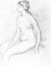 """Репродукция картины """"female nude seated"""" художника """"ренуар пьер огюст"""""""