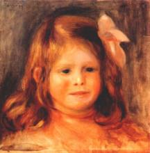 "Картина ""Girl with a pink ribbon"" художника ""Ренуар Пьер Огюст"""