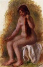 """Копия картины """"seated nude combing her hair"""" художника """"ренуар пьер огюст"""""""