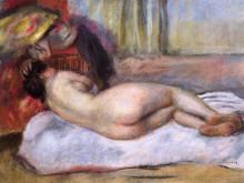 "Картина ""sleeping nude with hat (repose)"" художника ""ренуар пьер огюст"""