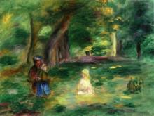 """Репродукция картины """"Three Figures in a Landscape"""" художника """"Ренуар Пьер Огюст"""""""
