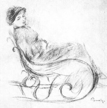 "Картина ""woman in a rocking chair"" художника ""ренуар пьер огюст"""