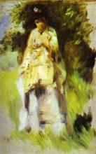 "Репродукция картины ""woman standing by a tree"" художника ""ренуар пьер огюст"""