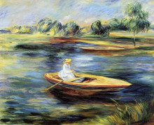 """Копия картины """"young woman seated in a rowboat"""" художника """"ренуар пьер огюст"""""""
