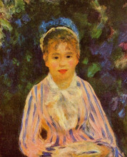 """Картина """"Young Woman in a Blue and Pink Striped Shirt"""" художника """"Ренуар Пьер Огюст"""""""