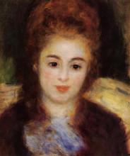 "Репродукция картины ""head of a young woman wearing a blue scarf (madame henriot)"" художника ""ренуар пьер огюст"""