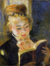 "Копия картины ""the reader (young woman reading a book)"" художника ""ренуар пьер огюст"""
