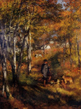 "Картина ""The Painter Jules Le Coeur Walking His Dogs in the Forest of Fontainebleau"" художника ""Ренуар Пьер Огюст"""