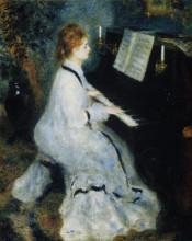 "Репродукция картины ""Young Woman at the Piano"" художника ""Ренуар Пьер Огюст"""