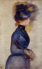 """Картина """"young woman in bright blue at the conservatory"""" художника """"ренуар пьер огюст"""""""
