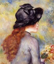 "Репродукция картины ""Young Girl Holding at Bouquet of Tulips"" художника ""Ренуар Пьер Огюст"""