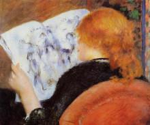 "Репродукция картины ""young woman reading an illustrated journal"" художника ""ренуар пьер огюст"""