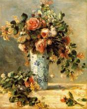 """Репродукция картины """"roses and jasmine in a delft vase"""" художника """"ренуар пьер огюст"""""""