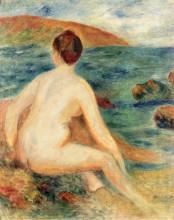 "Репродукция картины ""nude bather seated by the sea"" художника ""ренуар пьер огюст"""