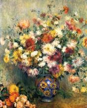 "Копия картины ""vase of chrysanthemums"" художника ""ренуар пьер огюст"""