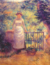 "Репродукция картины ""aline at the gate (girl in the garden)"" художника ""ренуар пьер огюст"""