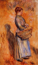 """Картина """"peasant woman standing in a landscape"""" художника """"ренуар пьер огюст"""""""