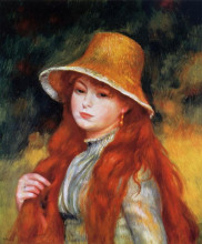 """Картина """"young girl in a straw hat"""" художника """"ренуар пьер огюст"""""""