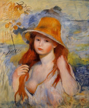 """Картина """"Young Woman in a Straw Hat"""" художника """"Ренуар Пьер Огюст"""""""