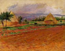 "Репродукция картины ""field and haystacks"" художника ""ренуар пьер огюст"""
