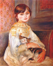 "Картина ""child with cat (julie manet)"" художника ""ренуар пьер огюст"""