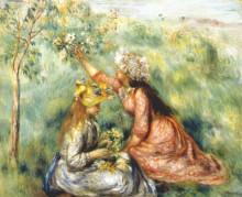 "Репродукция картины ""girls picking flowers in a meadow"" художника ""ренуар пьер огюст"""