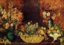 "Копия картины ""vase, basket of flowers and fruit"" художника ""ренуар пьер огюст"""
