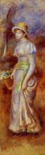 """Репродукция картины """"woman with a basket of flowers"""" художника """"ренуар пьер огюст"""""""