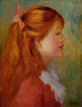 "Картина ""young girl with long hair in profile"" художника ""ренуар пьер огюст"""
