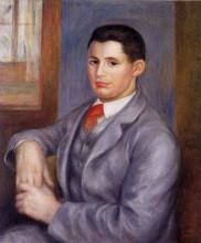 "Копия картины ""young man in a red tie, portrait of eugene renoir"" художника ""ренуар пьер огюст"""