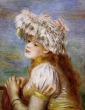 "Копия картины ""Girl in a Lace Hat"" художника ""Ренуар Пьер Огюст"""