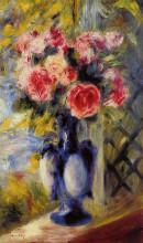 """Репродукция картины """"bouquet of roses in a blue vase"""" художника """"ренуар пьер огюст"""""""