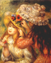 "Картина ""girls putting flowers on their hats"" художника ""ренуар пьер огюст"""