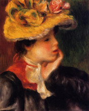 "Репродукция картины ""head of a young woman (yellow hat)"" художника ""ренуар пьер огюст"""