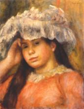 "Картина ""young woman wearing a hat"" художника ""ренуар пьер огюст"""