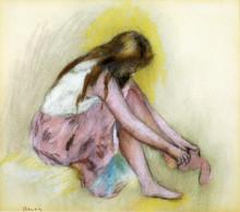 "Картина ""Young Girl Slipping on Her Stockings"" художника ""Ренуар Пьер Огюст"""