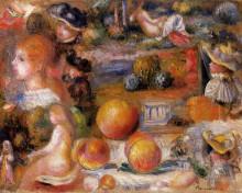 "Репродукция картины ""Studies Woman s Heads, Nudes, Landscapes and Peaches"" художника ""Ренуар Пьер Огюст"""