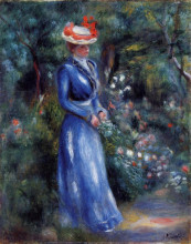 "Копия картины ""Woman in a Blue Dress, Standing in the Garden of Saint Cloud"" художника ""Ренуар Пьер Огюст"""
