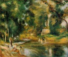 """Репродукция картины """"Essoyes Landscape Washerwoman and Bathers"""" художника """"Ренуар Пьер Огюст"""""""