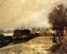 """Картина """"Laundry Boat by the Banks of the Seine, near Paris"""" художника """"Ренуар Пьер Огюст"""""""