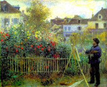 """Картина """"monet painting in his garden at argenteuil"""" художника """"ренуар пьер огюст"""""""
