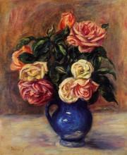 """Репродукция картины """"roses in a blue vase"""" художника """"ренуар пьер огюст"""""""