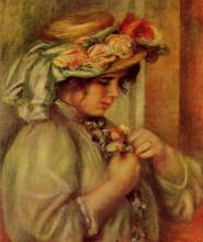 "Репродукция картины ""Young Girl in a Hat"" художника ""Ренуар Пьер Огюст"""