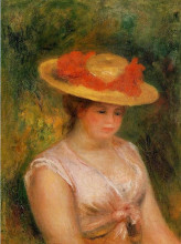 """Копия картины """"young woman in a straw hat"""" художника """"ренуар пьер огюст"""""""