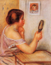 """Репродукция картины """"Gabrielle Holding a Mirror with a Portrait of Coco"""" художника """"Ренуар Пьер Огюст"""""""